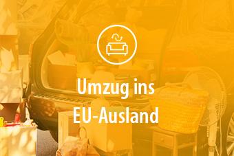 Im Hintergrund ein Umzugswagen mit Kartons und Gegenständen. Im Vordergrund der Titel: Umzug ins EU-Ausland.
