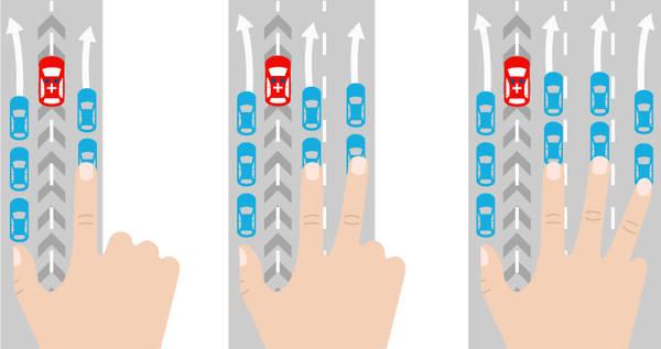 Drei Fotos zeigen, wie auf mehrspurigen Autobahnen eine Rettungsgasse gebildet wird.